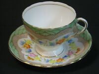 EB Foley Bone China Teacup & Saucer Set Green Floral Gold 1930's, England, Mint!