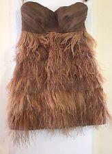 Womens Zara Nude Beige Ostrich Feather Strapless Silk Bodice Dress Size M 10