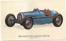 1934 Grand Prix Bugatti Type 59 Modern Postcard by Collectors Reproductions