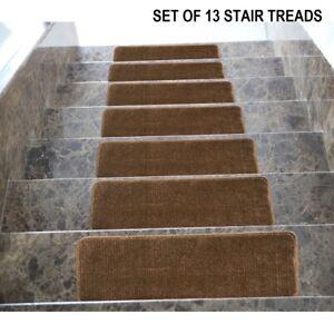Stair Treads Set Brown Indoor Wood Floors Non Skid Slip Carpet Rugs Pads 13pc