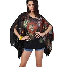 SALE! WOMENS BLACK BATWING KIMONO SLEEVE BLOUSE TOP 1 SZ 10 12 14 16 18 20 NEW