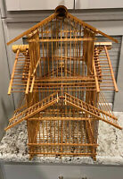 """Vintage Chinese Bamboo Tier Pagoda Hanging Bird Cage 20"""" Tall 14X14 Sides"""