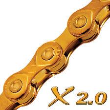 """KMC Chain X10 11/128"""" 10 Speed Gold Mountain Bike MTB Chain 112L"""