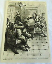 1883 magazine engraving ~ MAN HURLS THING AT OTHER MAN WITH DEADLY PRECISION