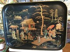 Antique French Napoleon lll Black Lacquer Chinoiserie Papier Mache Tray