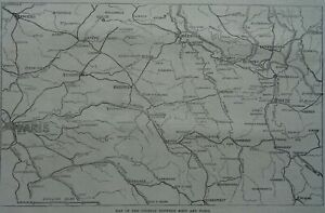 Franco Prussian War MAP OF THE COUNTRY BETWEEN METZ & PARIS Original Print 1870