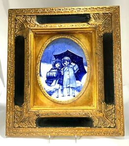Antique Burslem Doulton LOVING CUP Flow Blue England Arundel Gold Gilt