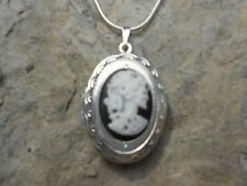 SKELETON, SKULL, ZOMBIE CAMEO LOCKET NECKLACE-.925 SILVER PLATED- QUALITY!!!!