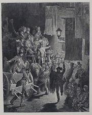 """Doré-Londres; 'El Derby-regresar"""", antiguo grabado en madera, C.1870"""