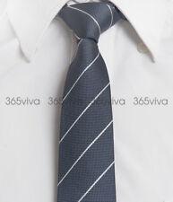 Gray White Stripes Mens Skinny Slim Narrow Woven Silk 6.5 cm Wedding Neck Tie