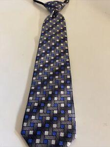 DOCKERS Youth Boys  SILK Necktie Zipper Adjustment Black/ Blue/Silver Geometric