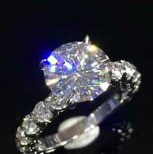 3Ct Round Moissanite Diamond Solitaire Engagement Ring Solid 14K White Gold Real