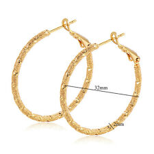 womens Gorgeous earings 18k yellow gold filled Frosted hoop earrings