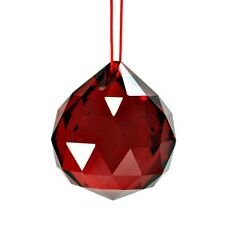 """RED FENG SHUI HANGING CRYSTAL BALL 1.5"""" 40mm Sphere Prism Faceted Sun Catcher"""