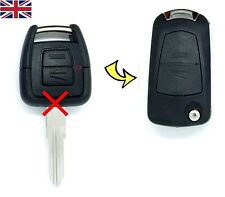 Vauxhall Opel Astra G Vectra zafira 2 Button Converted FLIP key fob case & Logo