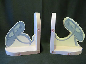 VINTAGE BALLERINA WOODEN BOOKENDS - PINK AND BLUE PAINTED - A DANCER'S DELIGHT!