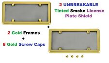 2 Gold Frames + 2 UNBREAKABLE Smoke License Plate Shield for Cars & Trucks New