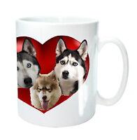 Husky Dog Mug 3 Siberian Husky Dogs in Heart Sled Dogs Birthday Mothers Day Gift
