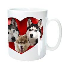 Husky Dog Mug 3 Siberian Husky Dogs in Heart Sled Dogs Xmas Gift Birthday Gift