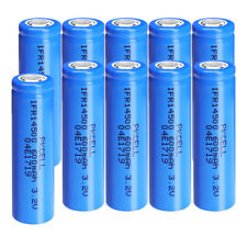 10x IFR14500 LiFePO4 Rechargeable Batteries 3.2v 600mAh Flat Top For LED Light