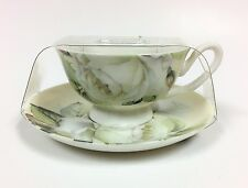 New Stechcol Gracie White Rose+Green Leaf Floral Tea Coffee Mug Cup+Saucer
