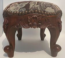 Small Oval Hardwood Footstool Brown Tapestry Fabric Carved Legs Antique Style