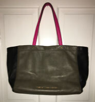 "Marc by Marc Jacobs ""What's the T"" tote khaki green pink & black pebbled leather"