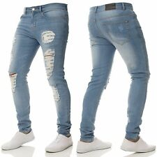 New ENZO Mens Super Skinny Stretch Jeans Knee Ripped Distressed Black Blue Grey