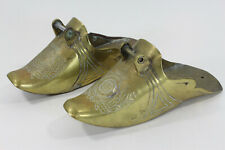 Parade Stirrups Pair Antique Spanish Colonial Armorial Engraved Brass Gaucho