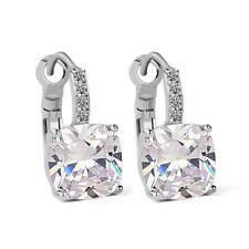 Luxurious Cushion-cut Drop Earrings 4 carat Bridal CZ Cubic Zirconia - CRYSTALA