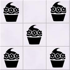 Cupcake Flower Tile Wall Art Sticker Pack of 5 Vinyl Decal Stencil