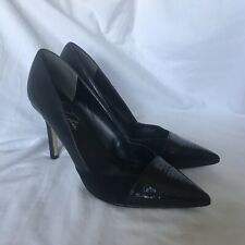 Women's Black Leather Pointed Toe Heels Marc Fisher Size 9.5M