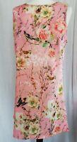Glamourus Pink Bird/Flower Silky Shift Dress Palace Gardens 14 BNWT £75 (AB13)