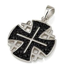Jerusalem Cross Pendant Black Swarovski Gemstones Sterling Silver 925