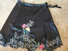 VERTIGO PARIS Skirt 12  Black Pleated Side SILK Embroidered RARE Unique SEXY
