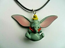 Cute Large Disney DUMBO Pendant with  Leather  Necklace