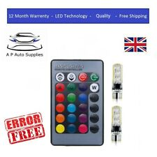Color Changing Remote Led RGB Car Side Lights Interior T10 Control Bulbs W5W 501