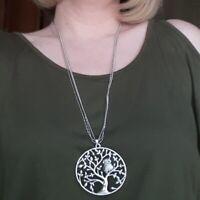 Silber Gold Rosegold Damen Halskette Groß Lebensbaum Eule Anhänger Kristall