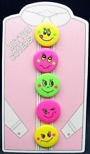 SMILE SMILEY FACE SHIRT BLOUSE BUTTON COVERS 5 PIECE SET NEW 9258