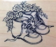 PSX rubber stamp E-2000 High Top Baby Shoes Roses Baby Shower Gift Birth Announc