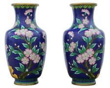More details for antique large quality pair of handed mid 20th century chinese cloisonne vases.