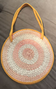 Beautiful boho wicker round spring summer bag Orange Basket Woven