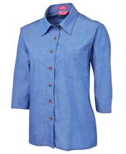 Jb's wear Ladies Indigo Chambray 3/4 Sleeve Shirt Contrast Tortoise Shell Button