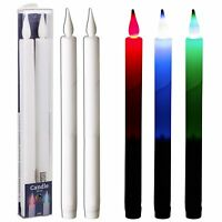 LED Flameless Battery Operated Taper  Dinner Party Coloured Candles Lights Pair