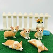 Auspa 5-Pack Pembroke Welsh Corgi Sculpture Figurine Toy, Hand-Made and Painted