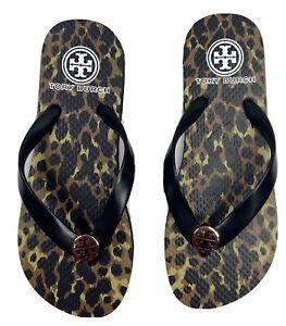 Tory Burch Women's Thick Rubber Flip Flop 5 Black With Gold Reva Logo Sandal