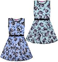 Girls New Roses Skater Dress Kids Summer Floral Party Dresses Blue Mint 7 - 13 Y