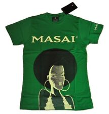 Masai Cider Women's T-Shirt SIZE S Green Herb - Africa Woman Large Earrings
