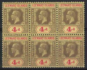 1912 Leeward Islands SG70 Unmounted Mint Block of 6 (C38)