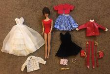 Vtg Midge 1962 Barbie 1958 Brunette Bubble Cut with Clothes